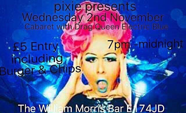 Pixie Presents: Cabaret with drag queen Electric Blue