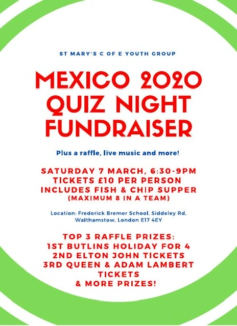 Mexico 2020 Quiz Night Fundraiser with fish & chip supper